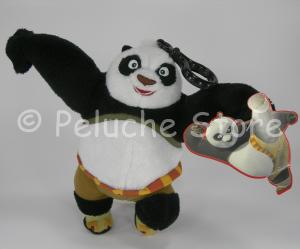 Kung Fu Panda peluche contenitore con zip gancio 18 cm Originale