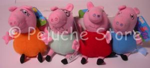 Peppa Pig e amici Peluche con Gancio 10 cm Moschettone George Papà Rebecca