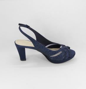 Sandalo cerimonia donna elegante in tessuto blu con applicazione in cristalli e cinghietta regolabile Art.H17Z10PTRASF0943P07