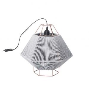 Lampada da tavolo LEGATO acciaio|rivestita tessuto grigio