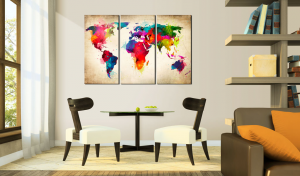 quadro continenti d 39 arcobaleno 60x40. Black Bedroom Furniture Sets. Home Design Ideas