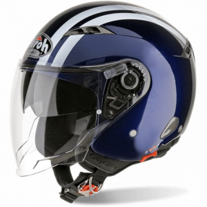 CASCO MOTO AIROH JET CITY ONE FLASH DARK BLUE GLOSS COF13