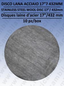 """PAD DISCHI LANA D'ACCIAIO  17"""" 432 mm 10 PEZZI per lavapavimenti"""