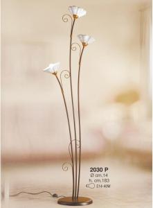 Lampada da terra 3 fuochi in ceramica bianca traforata Ceramiche Borso Collection mod. 2030.p