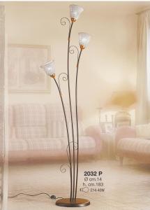 Lampada da terra 3 fuochi in ceramica bianca intrecciata Ceramiche Borso Collection mod. 2032.p