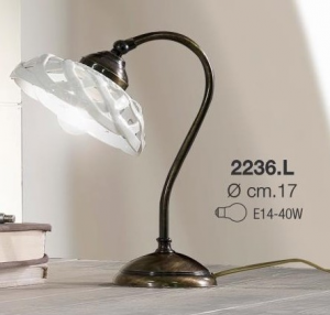 Lampada da tavolo in ceramica bianca incrociata Ceramiche Borso  Collection mod. 2236.L