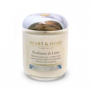 Candela in cera di soia - Profumo di Lino - Heart & Home