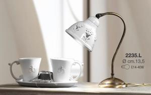 Lampada tavolo in ceramica bianca traforata Ceramiche Borso Collection mod. 2235.l