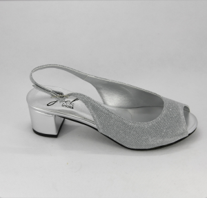 Sandalo donna elegante da cerimonia in tessuto glitter  argento con cinghietta regolabile  Art. A94