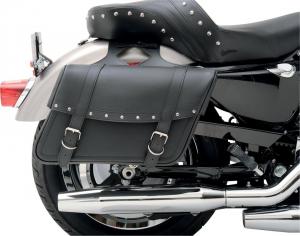 SADDLEMEN 35010091 Highwayman Riveted Large Coppia borse moto laterali in pelle - Nero