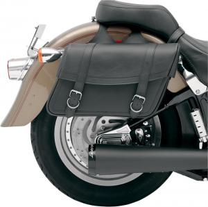 SADDLEMEN 35010092 Highwayman Classic Jumbo Coppia borse moto laterali in pelle - Nero