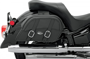 SADDLEMEN 35010319 Express Drifter Throw-over Large Coppia borse moto laterali in pelle - Nero