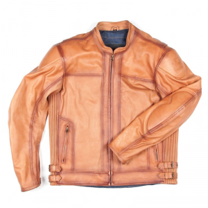 OVERLAP JOEY Giubbotto Moto in Pelle - Marrone Cammello