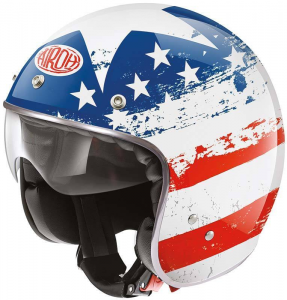 AIROH RIOT USA Jet Helmet - White - Blue and Red