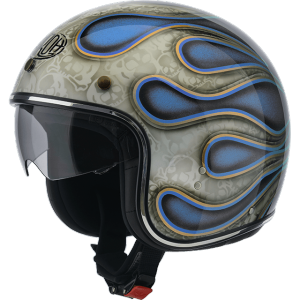 AIROH RIOT FLAME Jet Helmet - Glitter Blue