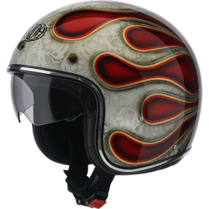 AIROH RIOT FLAME Jet Helmet - Glitter Red