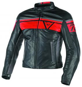 DAINESE BLACKJACK Motorcycle Leather Jacket - Black - Red and Smoke Grey