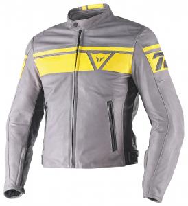 DAINESE BLACKJACK Motorcycle Leather Jacket - Smoke Grey - Yellow and Black