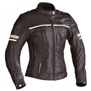IXON MOTORS Woman Motorcycle Leather Jacket - Brown - White and Beige