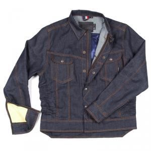 OVERLAP JARED RAW Giubbotto Moto di Jeans - Blu Grezzo