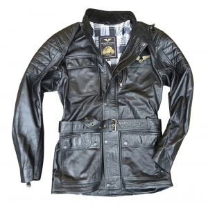 BLACK CAFE LONDON LJ10681 Giubbotto Moto in Pelle - Nero