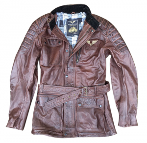 BLACK CAFE LONDON LJ10681 Giubbotto Moto in Pelle - Marrone