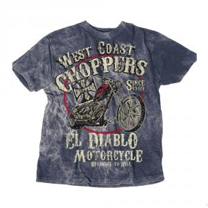 T-shirt West Coast Choppers El Diablo Vintage Blu