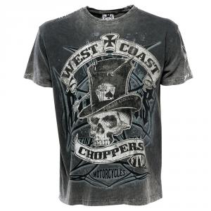 T-shirt West Coast Choppers Cash Only Vintage Nero Grigio