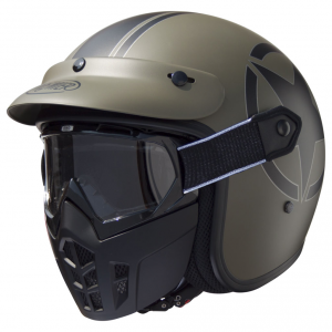 PREMIER MASK STAR MILITARY Casco Jet - Verde Militare