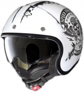 Casco jet Nolan N21 Speed Junkies scratched bianco opaco