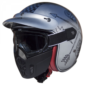 PREMIER MASK NX CHROMED Casco Jet - Argento e Nero