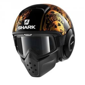 Casco jet Shark Drak Sanctus nero arancio arancio
