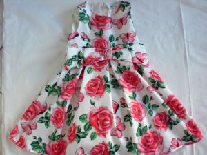 Vestito in cotone stampa rose tg 3 anni