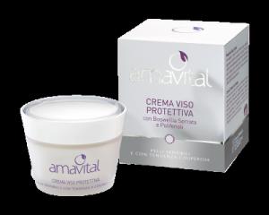 CREMA VISO PROTETTIVA AMAVITAL per pelli sensibili e con tendenza couperose con Boswellia serrata e polifenoli
