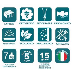 Materasso in Lattice  100% Tessuto Termo - Regolatore OUTLAST Sfoderabile 4 Lati H22 | Relax Latex  |Prezzi a partire da