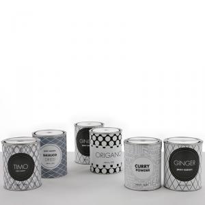 Barattoli in latta con etichetta stampata in bianco e nero con grafiche diverse