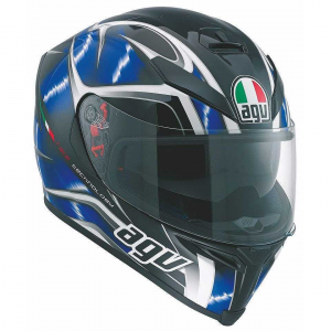 CASCO MOTO AGV INTEGRALE K-5 HURRICANE BLACK BLUE WHITE, TAGLIA M/L