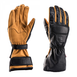 BLAUER BACKUP Motorcycle Gloves - Black and Natural Leather