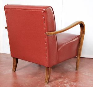 Coppia poltrone vintage rosse anni '40