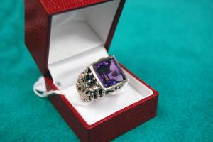 Anello vescovile in argento con quarzo viola
