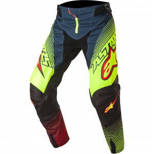 PANTALONI MOTO CROSS ALPINESTARS TECHSTAR FACTORY 2017 PETROL YELLOW FLUO RED cod. 3721017
