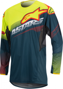 MAGLIA MOTO CROSS ALPINESTARS TECHSTAR FACTORY 2017 PETROL YELLOW FLUO RED