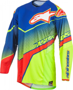 MAGLIA MOTO CROSS ALPINESTARS TECHSTAR VENOM JERSEY BLUE YELLOW FLUO RED