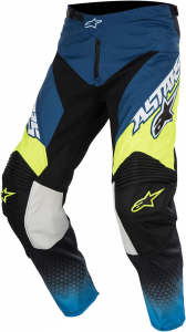 PANTALONI MOTO CROSS ALPINESTARS RACER SUPERMATIC DARK BLUE CYAN YELLOW FLUO cod 3721517