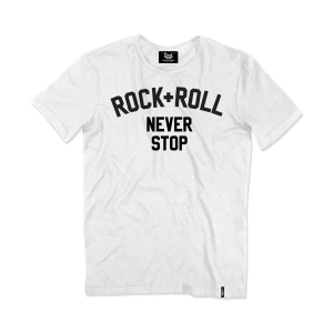 BERIDER VINTAGE ROCK+ROLL NEVER STOP T-shirt - Bianco
