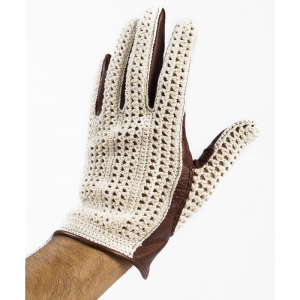 BARUFFALDI GUIA CROCHET Motorcycle Gloves - White and Chocolate Brown