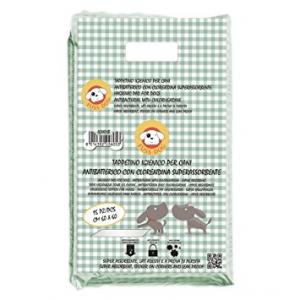 Tappetini Igienici Assorbenti Antibatterici alla clorexidina Super Assorbenti per Cani 60 x 90 cm. 15 pezzi.