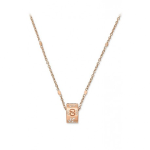 GUCCI ICON ROSE GOLD AND WHITE ENAMEL NECKLACE