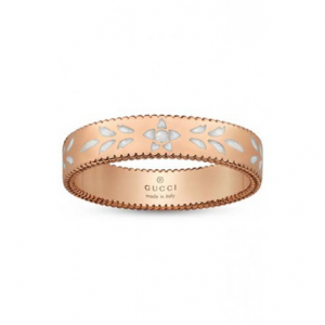a6136bc61 GUCCI ICON ROSE GOLD AND WHITE ENAMEL RING - 4 mm