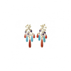 OLE LYNGGAARD COPENHAGEN - GIPSY EARRINGS IN YELLOW GOLD, MIXED STONES AND DIAMONDS